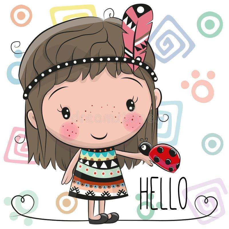 Милая девушка и ladybug шаржа иллюстрация штока