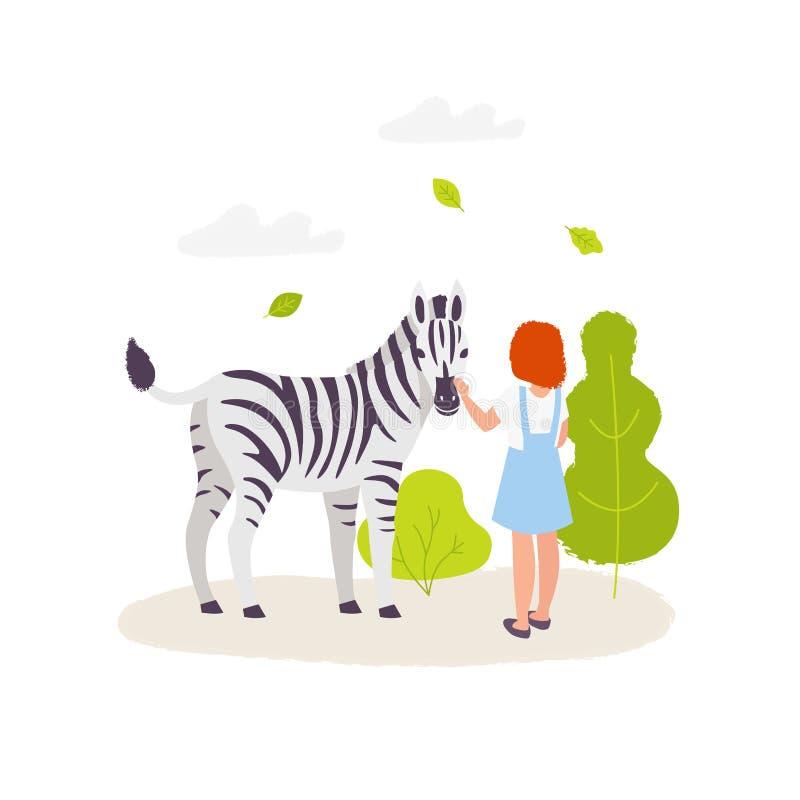 Милая девушка контактируя с зеброй Красочная иллюстрация вектора в плоском стиле шаржа Элементы парка зоопарка изолированные даль иллюстрация штока