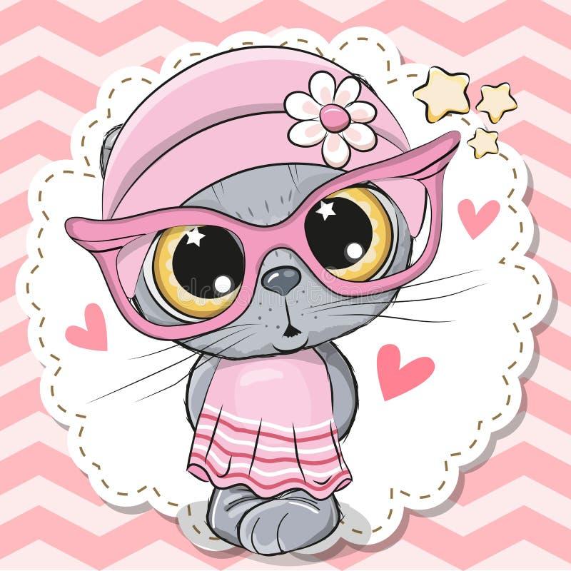 Милая девушка кота в розовых eyeglasses иллюстрация вектора