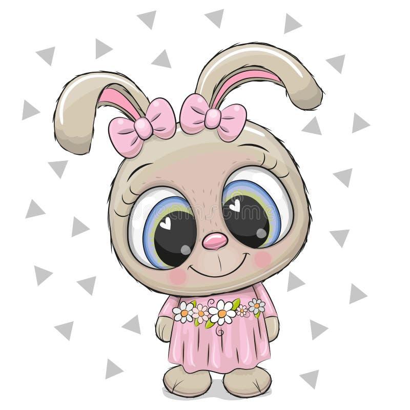 Милая девушка кролика на белой предпосылке бесплатная иллюстрация