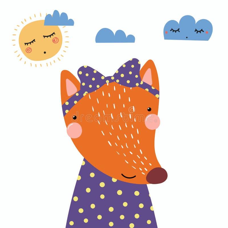 Милая девушка лисы бесплатная иллюстрация