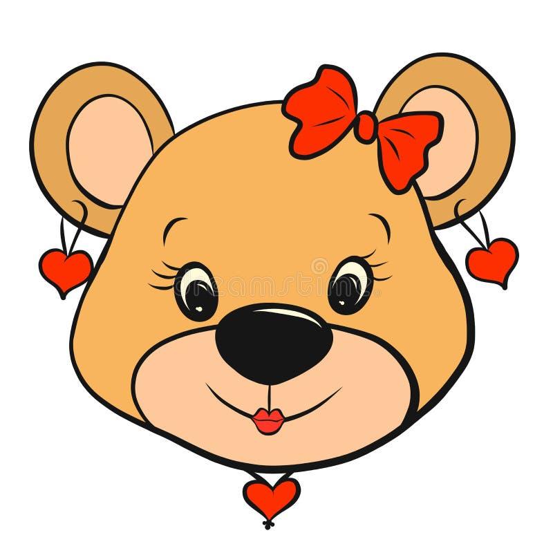 Милая девушка медвежонка с серьгами и сердце сформировали шкентель иллюстрация вектора