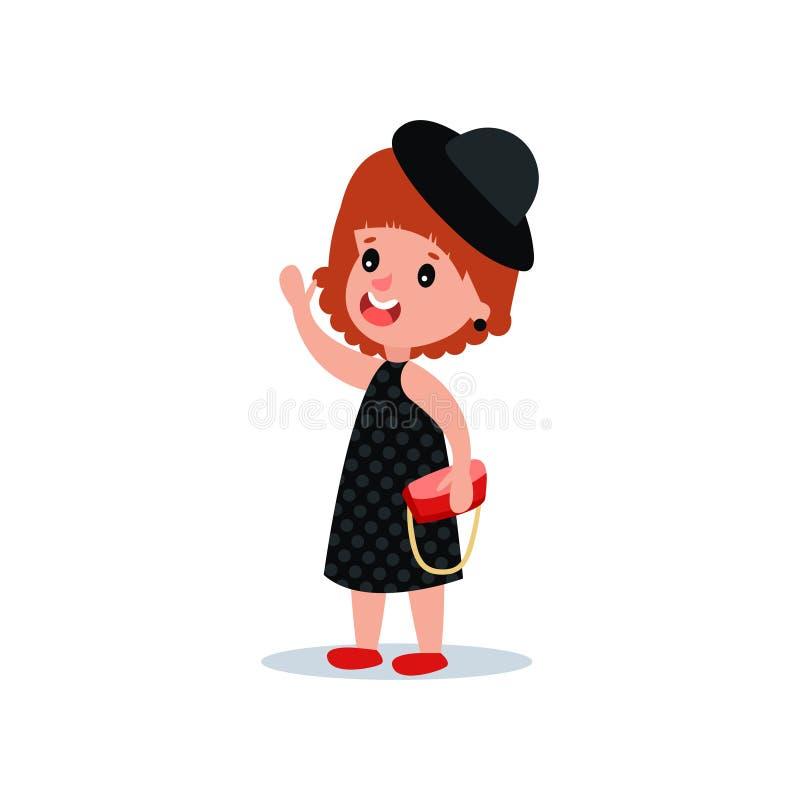 Милая девушка моды в черном платье полька-точки, шляпе и красной сумке Официальные одежды вечера Женский модельный развевать хара иллюстрация штока
