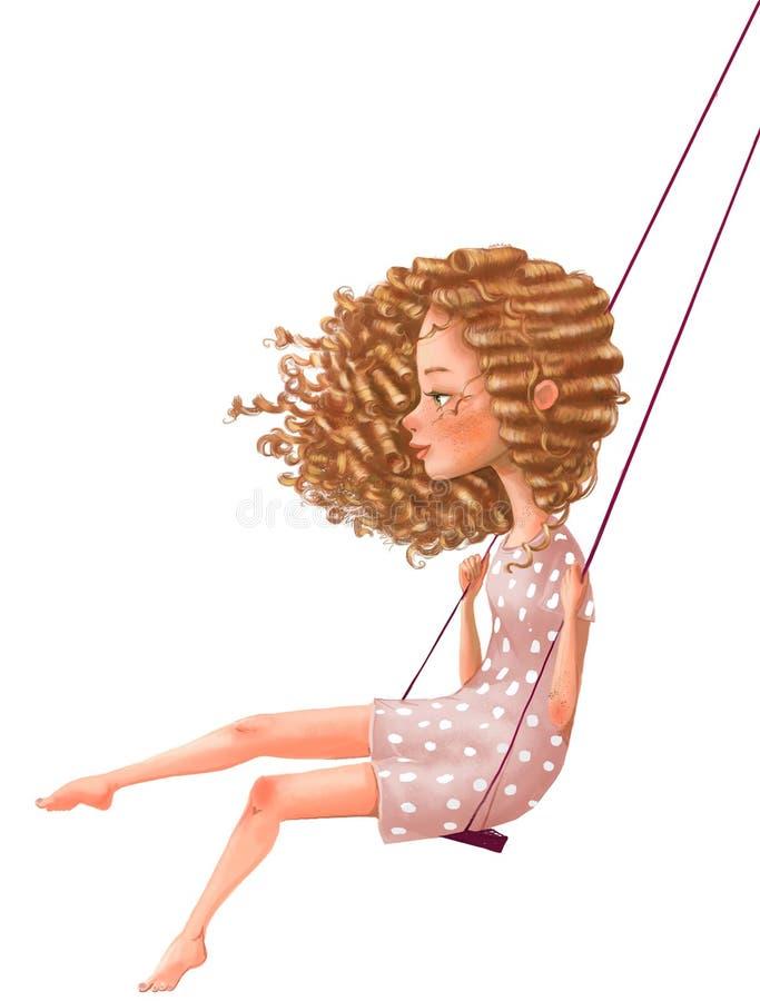 Милая девушка мультфильма на качании стоковое изображение rf