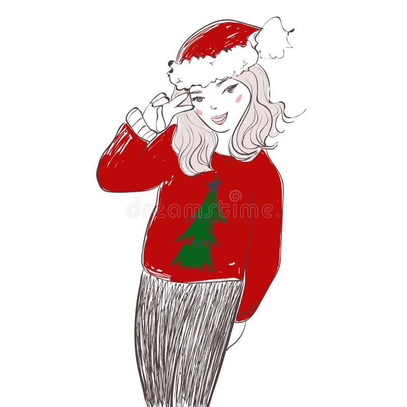 Милая девушка нося одежды Санта Клауса на белой предпосылке Иллюстрация вектора handdrawn иллюстрация вектора