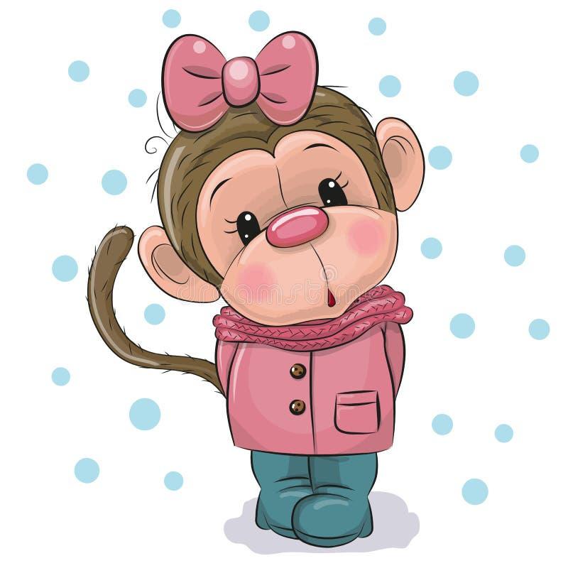 Милая девушка обезьяны на белой предпосылке иллюстрация штока