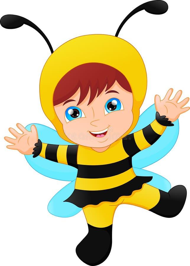Милая девушка одела в пчеле костюма масленицы бесплатная иллюстрация