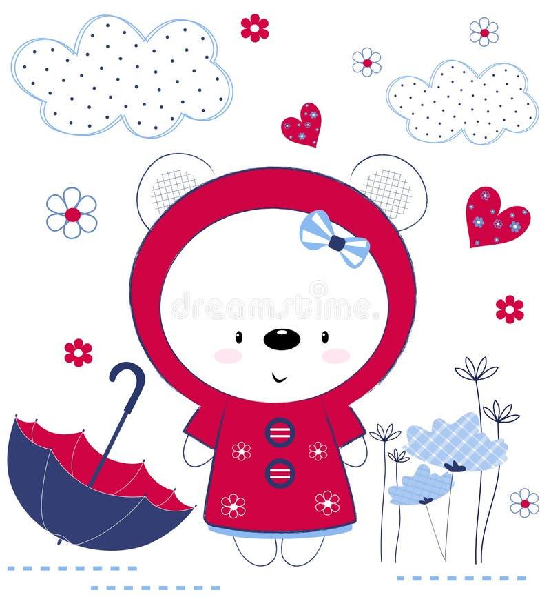 Милая девушка плюшевого мишки с зонтиком, цветками и сердцами Печатание для детей, плакат детей, одежда детей, открытка V бесплатная иллюстрация