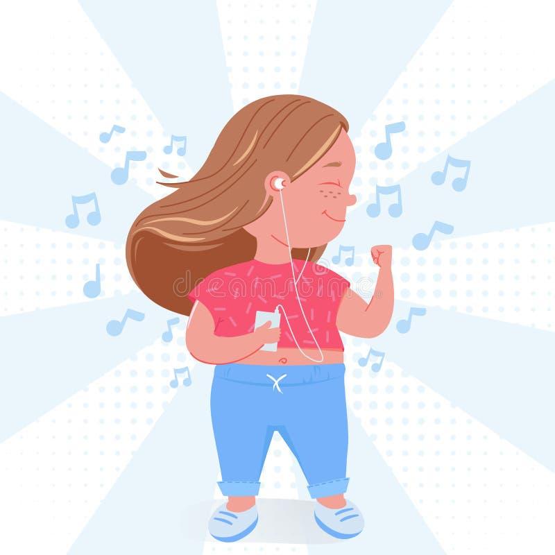 Милая девушка ребенка слушать музыку Счастливые танцы с mp3 плеером бесплатная иллюстрация
