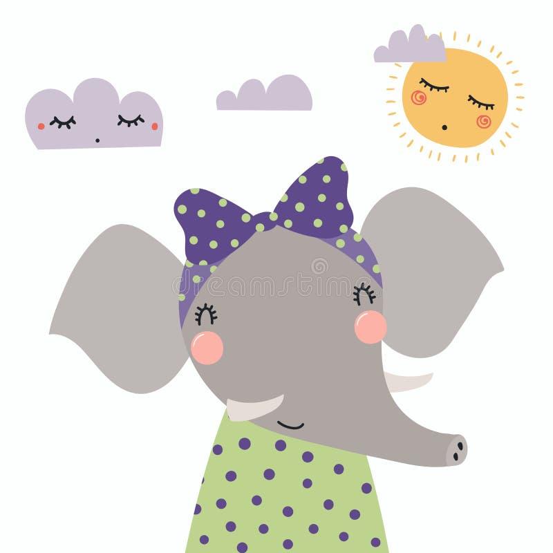 Милая девушка слона бесплатная иллюстрация