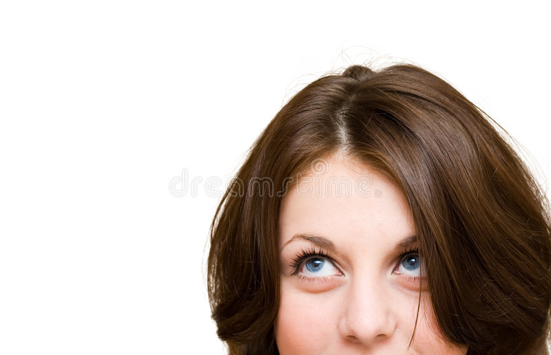 милая девушка смотря вверх стоковое фото rf