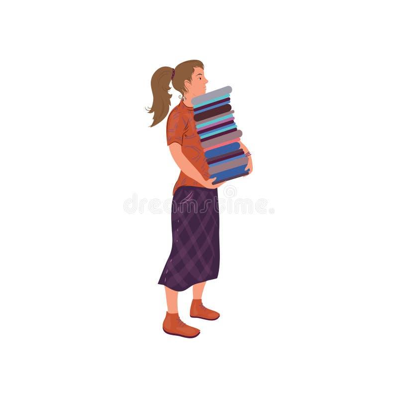 Милая девушка студента принимает большой стог книг иллюстрация вектора
