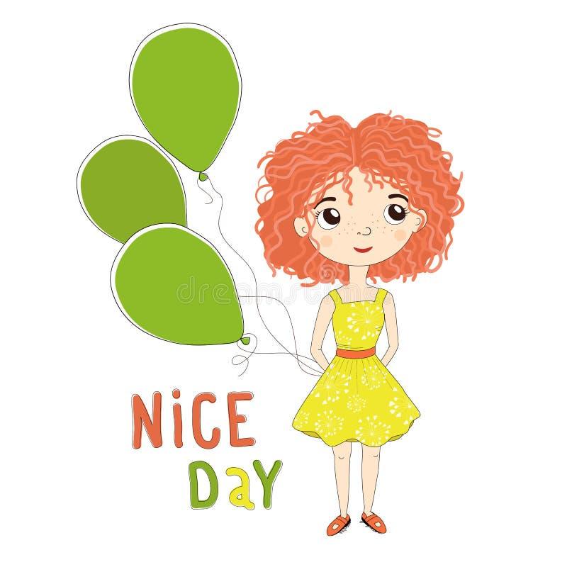 Милая девушка с красными волосами, с зелеными воздушными шарами в их руках иллюстрация штока