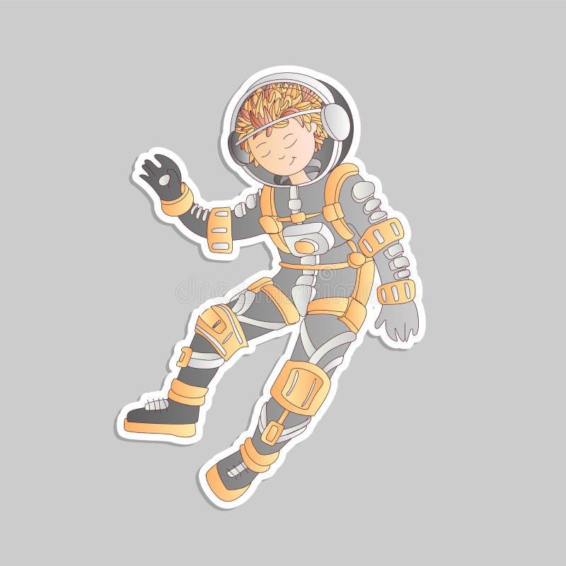 Милая девушка asrtonaut мультфильма плавая в иллюстрацию стикера вектора космоса Девушка в шлеме космоса среди звезд, в глубокой иллюстрация вектора