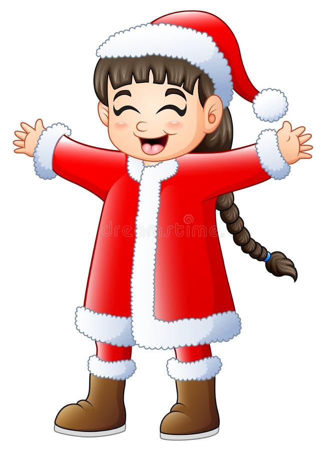 Милая длинная девушка волос нося костюм Санта Клауса иллюстрация вектора