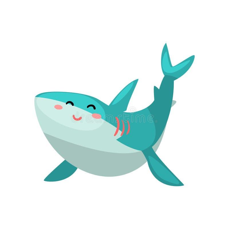 Милая дружелюбная иллюстрация вектора персонажа из мультфильма акулы на белой предпосылке иллюстрация штока