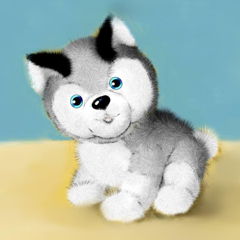 Милая дружелюбная собака щенка, животное doggy, животный мир, иллюстрация, эмблема головы собаки, paiting, книжка-раскраска, книг иллюстрация вектора
