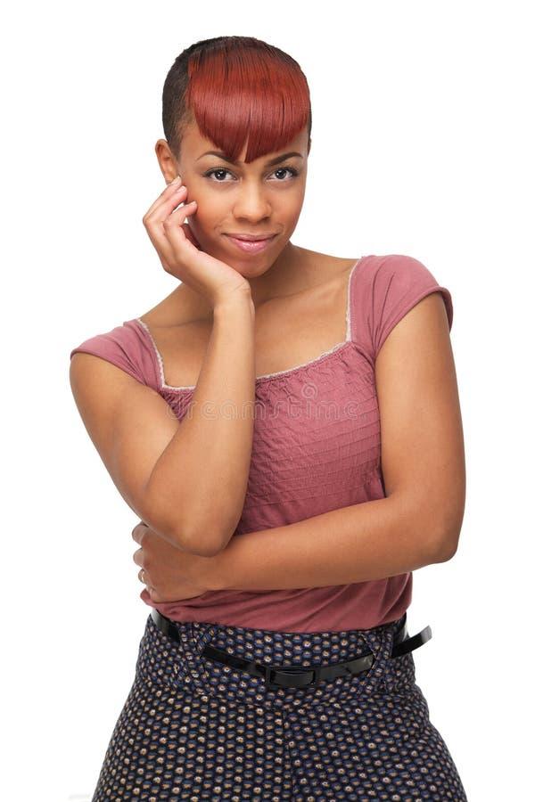 Милая женщина афроамериканца стоковая фотография