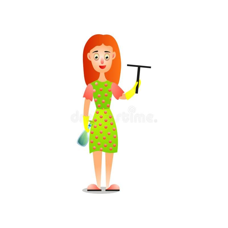 Милая женщина в поставленных точки окнах платья очищая домашних иллюстрация штока