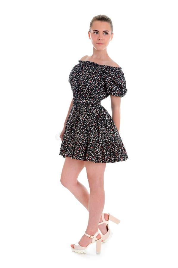 Милая женщина в романтичном платье изолированном на белизне стоковое фото rf