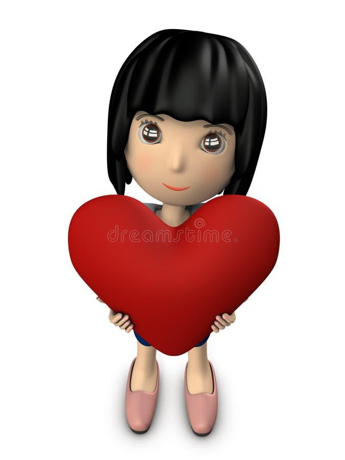 Милая женщина держа большое сердце иллюстрация штока