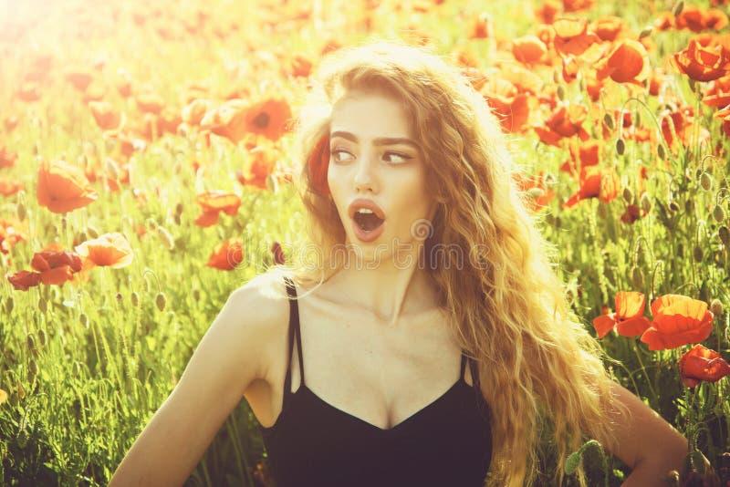 Милая женщина или удивленная девушка в поле макового семенени стоковые изображения