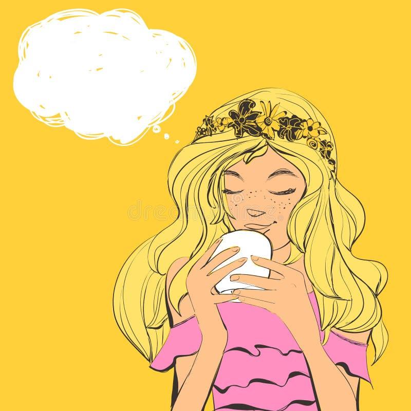 Милая женщина с diadem веснушек и цветков на чае красивых волос выпивая Иллюстрация вектора с пузырем для текста иллюстрация вектора