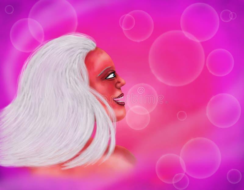 Милая женщина усмехаясь и мечтая волшебная женщина, 2018 иллюстрация штока