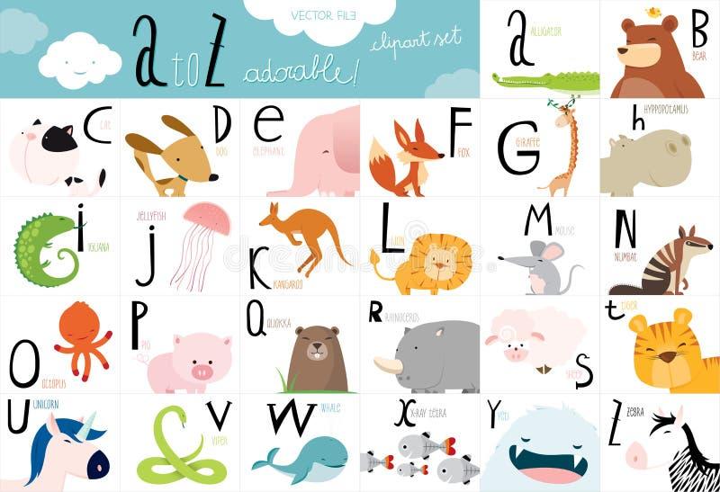 Милая животная таблица алфавита вектора иллюстрация вектора
