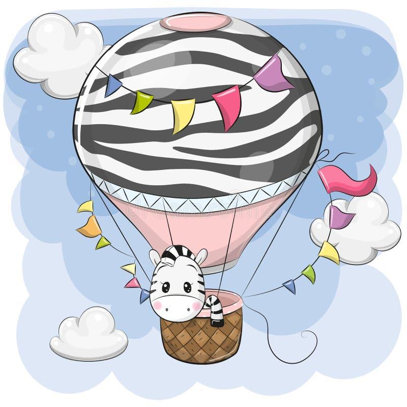 Милая зебра летает на горячий воздушный шар иллюстрация штока