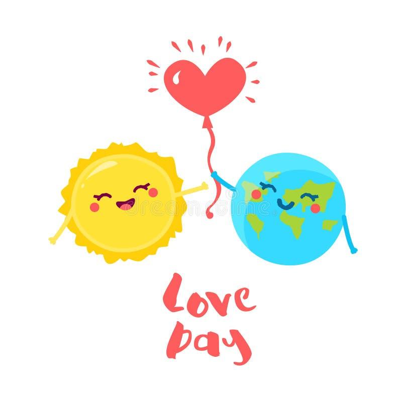 Милая земля дает воздушный шар в форме сердца на Солнце Плоский стиль также вектор иллюстрации притяжки corel бесплатная иллюстрация