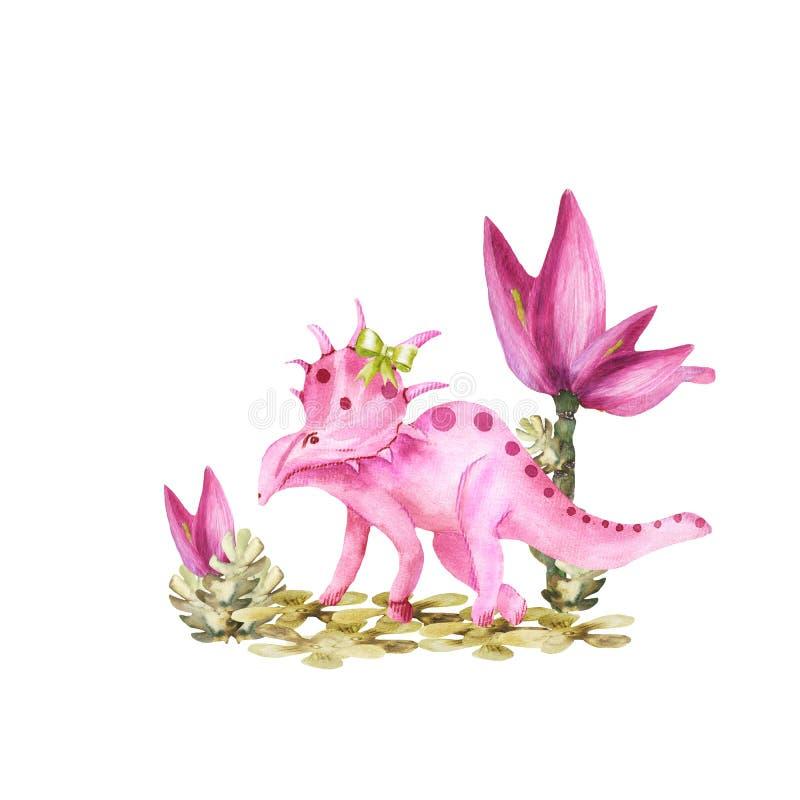 Милая иллюстрация акварели девушки динозавра иллюстрация вектора