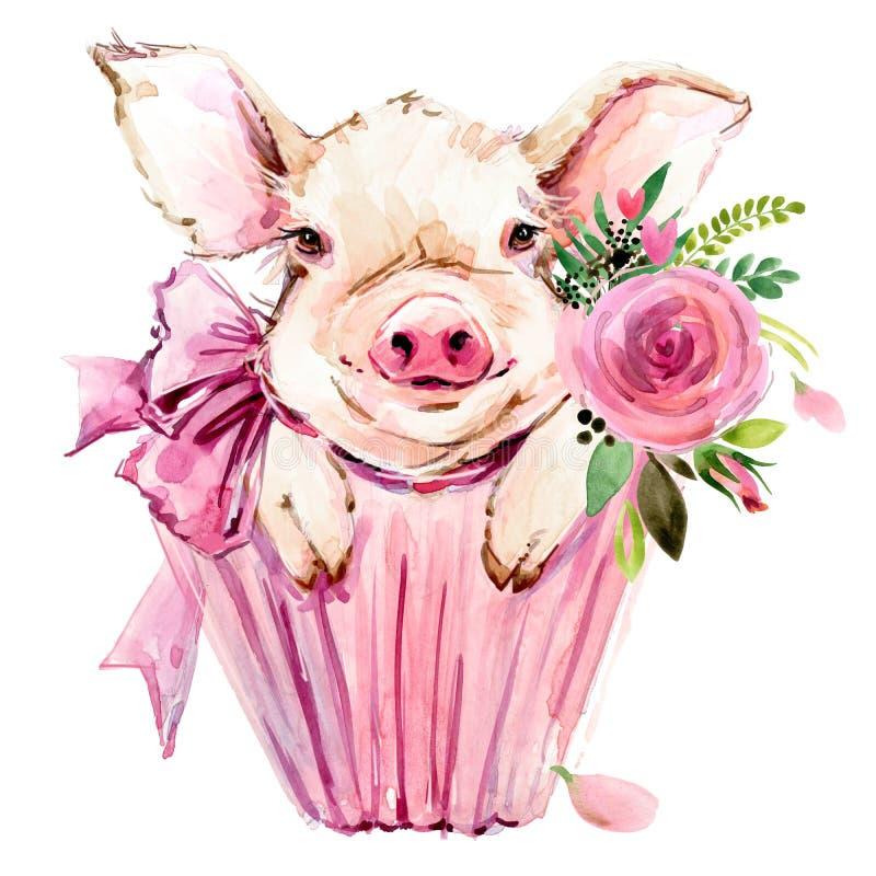 Милая иллюстрация акварели свиньи бесплатная иллюстрация