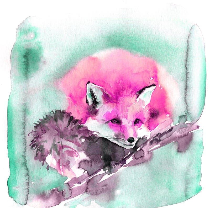 Милая иллюстрация акварели с розовой красной лисой Пушистый зверь спит сладко стоковое изображение