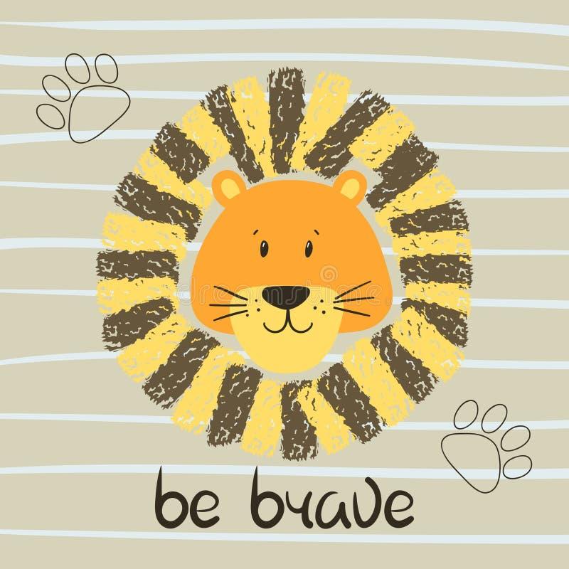Милая иллюстрация вектора головы льва шаржа Храбрый иллюстрация вектора