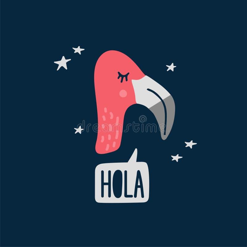 Милая иллюстрация вектора головы фламинго бесплатная иллюстрация