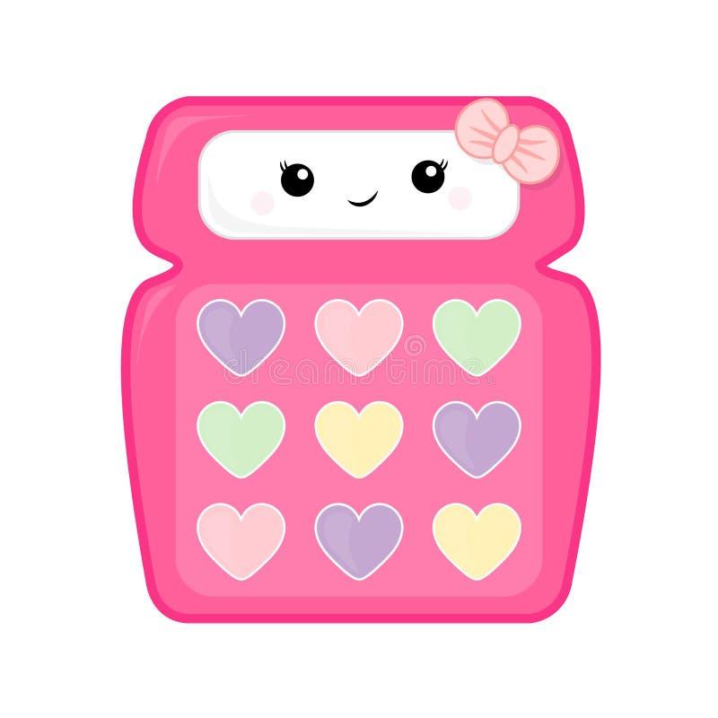 Милая иллюстрация вектора калькулятора школы для детей Калькулятор пинка девушки изолированный на белой предпосылке бесплатная иллюстрация