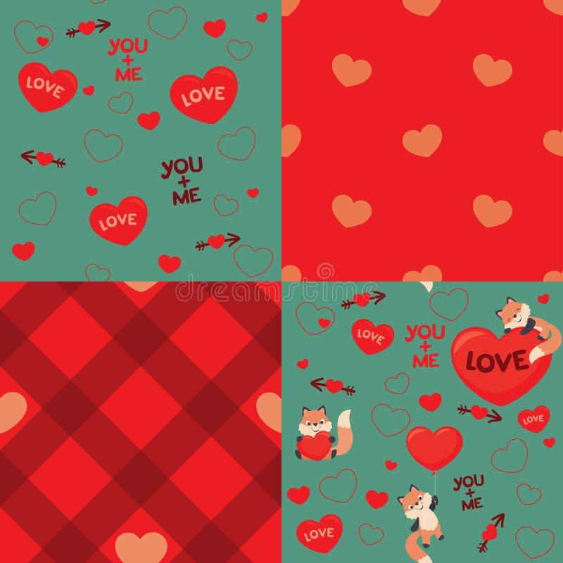 Милая иллюстрация вектора комплекта элементов дизайна картины дня валентинок влюбленности Fox стиля Kawaii безшовная иллюстрация штока