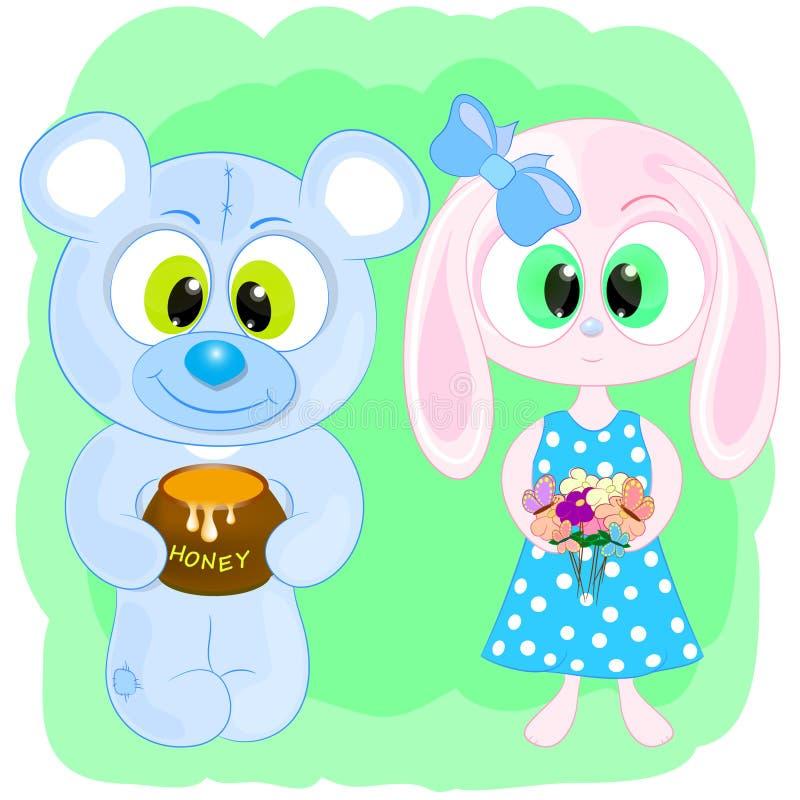 Милая иллюстрация вектора мультфильма кролика и медведя бесплатная иллюстрация