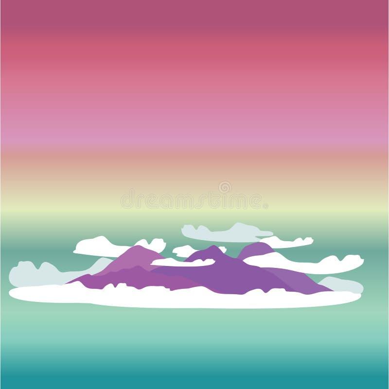 Милая иллюстрация вектора мультфильма облаков и пурпурных холмов иллюстрация штока