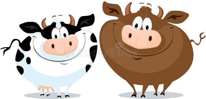 Милая иллюстрация вектора мультфильма пар коровы Funy бесплатная иллюстрация