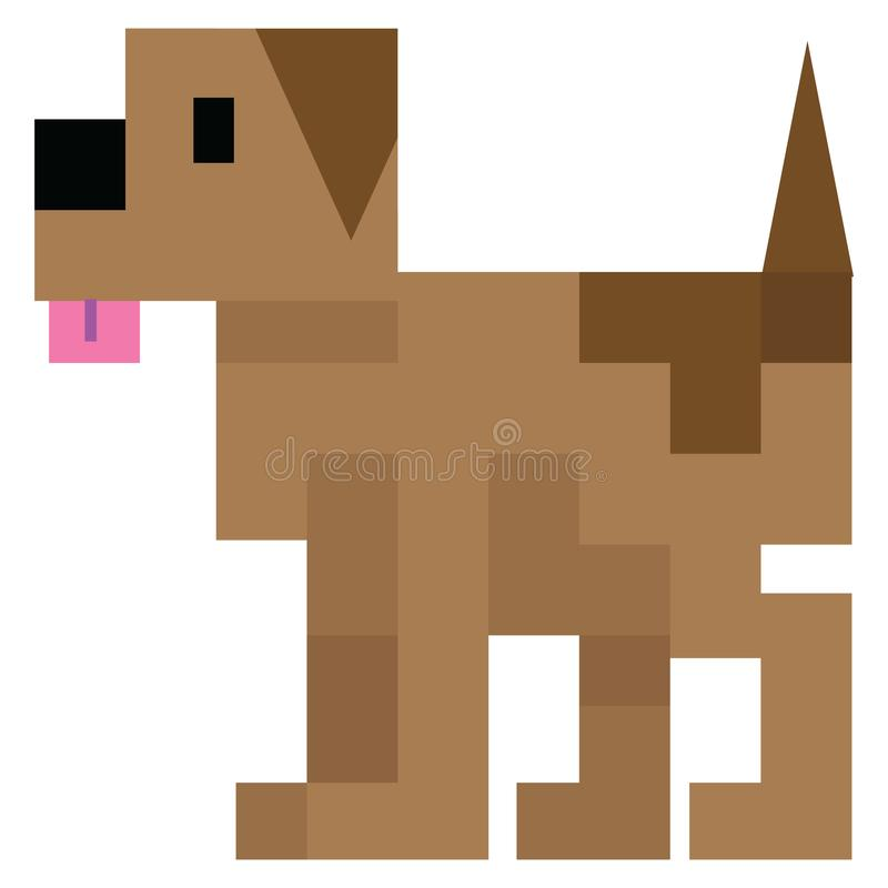 Милая иллюстрация вектора собаки 8bit Искусство пиксела бигля иллюстрация вектора