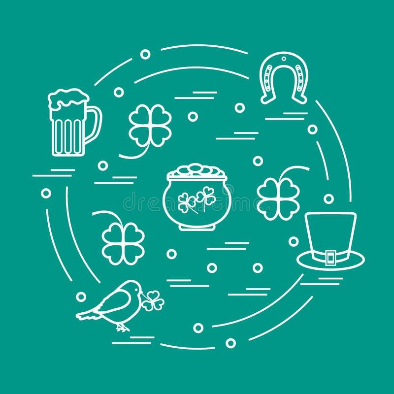 Милая иллюстрация вектора с различными символами на день St. Patrick аранжировала в круге o иллюстрация вектора