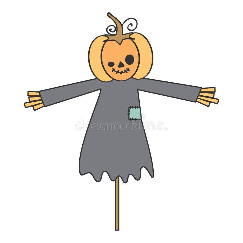 Милая иллюстрация вектора хеллоуина шаржа при чучело тыквы изолированное на белой предпосылке иллюстрация штока