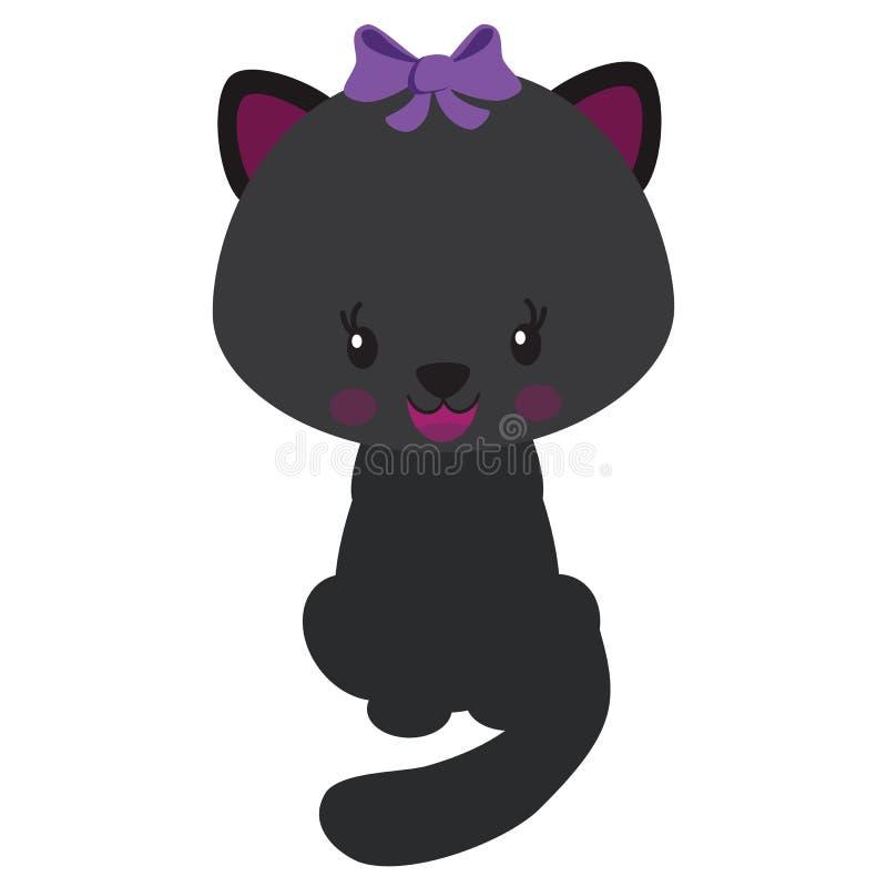 Милая иллюстрация вектора черного кота стоковая фотография