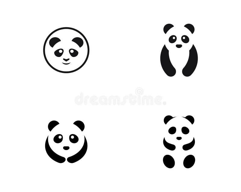 Милая иллюстрация значка вектора шаблона логотипа панды иллюстрация штока