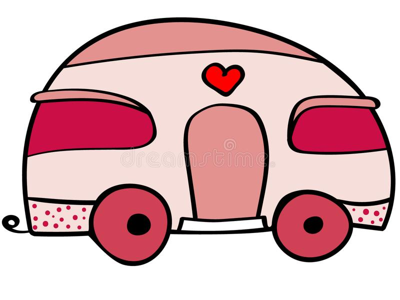 Милая иллюстрация каравана Караван шаржа розовый иллюстрация вектора