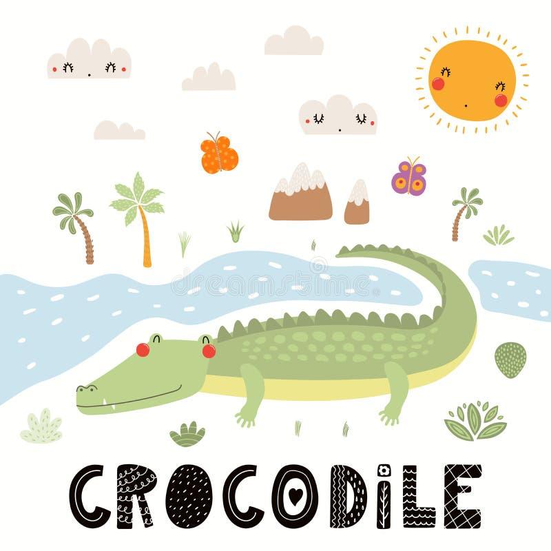 Милая иллюстрация крокодила бесплатная иллюстрация