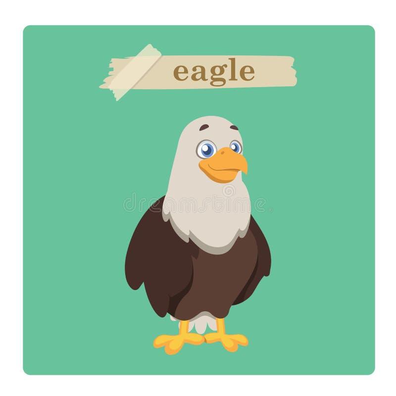 Милая иллюстрация орла на зеленой предпосылке иллюстрация вектора