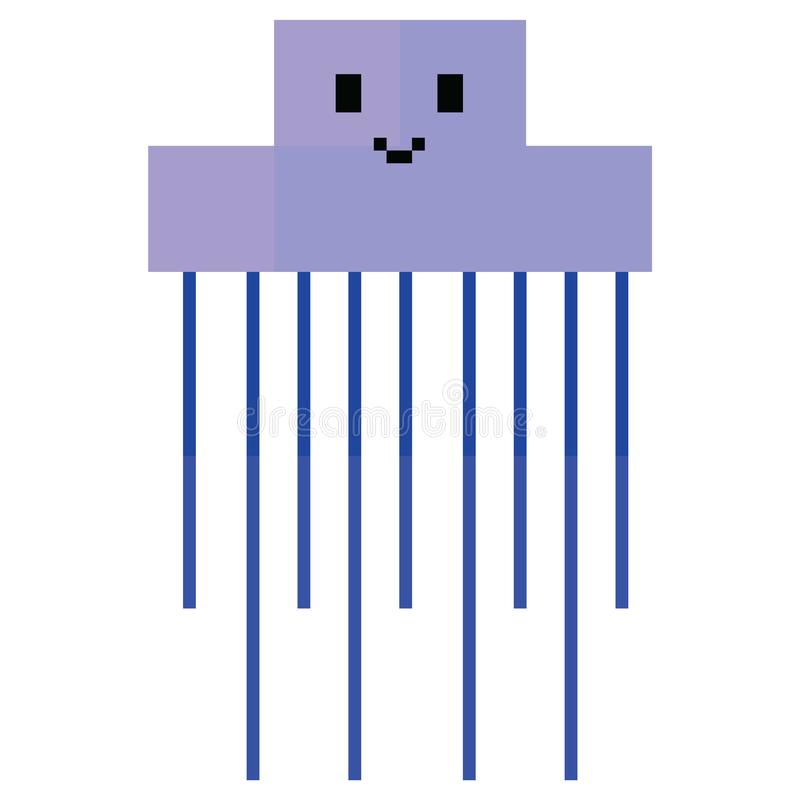 Милая иллюстрация 8 сдержанная медуз Ретро вектор sealife игры Clipart щупальец пиксела бесплатная иллюстрация
